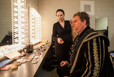 Columnist Doug Speirs prepares for his debut dress rehearsal performance in Manitoba Opera's Rigoletto at the Centennial Concert Hall on Wednesday night.