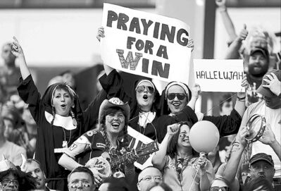 Blue Bomber fans enjoy themselves during the Banjo Bowl earlier this month.