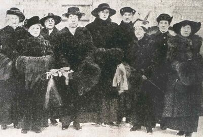 Executive members of the Political Equality League of Manitoba in a photo taken shortly after the passage of suffrage bill in January 1916.