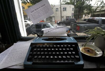 Patrons of the Strong Badger Coffeehouse are encouraged to contribute to &#34;The Progressive Story&#34; by adding a sentence to the story owner Brock Peters hopes will eventually become a full-length novel.</p>