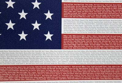 "This Wednesday, Aug. 17, 2011 photos shows a 9-11 memorial flag ""Flag of Honor"" designed by John Michelotti at his warehouse in Greenwich, Conn. At first glance, the Flag of Honor/Flag of Heroes Project looks like any other charity doing philanthropy in the name of 9/11. But people who have bought one of its flags would likely be surprised to learn that nearly all the proceeds have gone to the charity founder's for-profit flag company, not 9/11 victims. (AP Photo/Seth Wenig)"