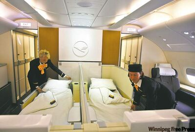 First-class section of new Airbus A380 aircraft prior to its delivery to Germany�s national airline, Lufthansa.
