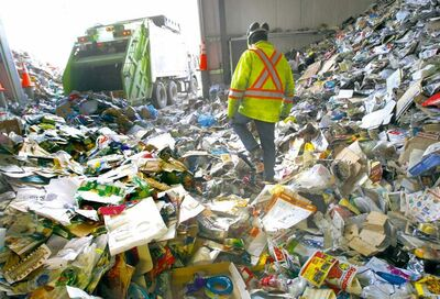 Emterra's automated recycling plant at 1029 Henry Ave. Since the city started to use blue recycling carts, the plant has seen nearly a 20 per cent rise in volume.