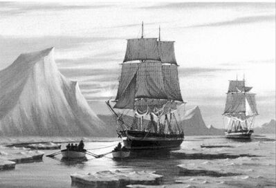 Parks Canada says it has found either the Erebus or the Terror, lost in the ill-fated 1845 expedition of Sir John Franklin. Painting by J. Franklin Wright.