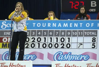 Manitoba skip Jennifer Jones waits to start the final end during the page playoff curling action against Ontario at the Scotties Tournament of Hearts Saturday night  in Kingston, Ont.