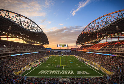 The sun sets during the inaugural game at Investors Group Field in Winnipeg on June 27, 2013.