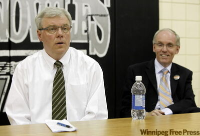 NDP leadership candidates Greg Selinger (left) and Steve Ashton at meeting at Stanley Knowles school.