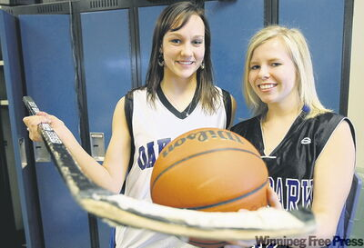 The Oak Park Raiders' Sara Oswald, left, and Jasmine Stromberg are multi-sport athletes, with a shot at the title in hockey.