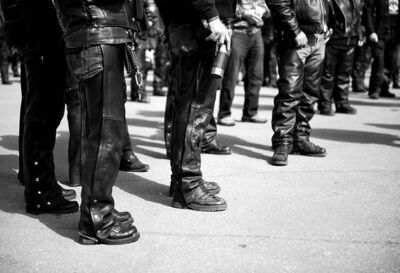 DAVID LIPNOWSKI / WINNIPEG FREE PRESSLeather-clad participants await the kickoff of the journey from Polo Park Saturday at the Manitoba Motorcycle Ride for Dad.