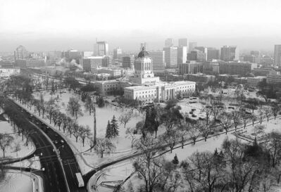 Don Marks / WINNIPEG FREE PRESSThe view of the legislative building and downtown from Don Marks� balcony.