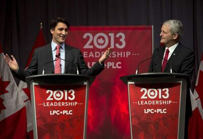 Justin Trudeau (left) and Marc Garneau debate on March 3 in Halifax.