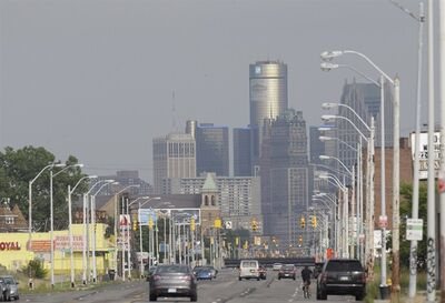 This July 18, 2013, shows the Detroit skyline from Grand River in Detroit. THE CANADIAN PRESS/AP, Carlos Osorio