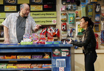 In Kim's Convenience, a play by Ins Choi, Paul Sun-Hyung Lee (left) plays a Korean store owner who wants his children to take over the shop. Chantelle Han plays his daughter. The play runs until April 5 at Royal Manitoba Theatre Centre.