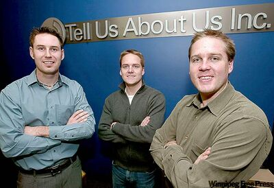 From left, Scott Griffith, Kirby Gompf and Tyler Gompf of Tell Us About Us.