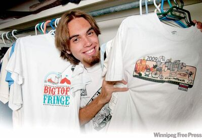 Andrew Vineberg throws a tee party with his collection of fringe festival souvenirs.