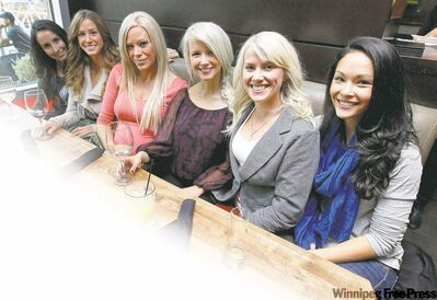 Winnipeg Jets' wives, from left, Bianca Pavon-Solis, Sam Wheeler, Emily Hendry, Brandy Ladd, Rachel Fehr and Emily Glass.