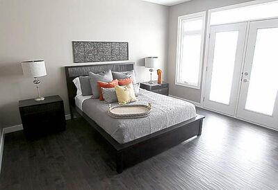 Paradigm Homes show-home in La Salle, Manitoba-Master bedroom- see Todd Lewys story- March 05, 2012   (JOE BRYKSA / WINNIPEG FREE PRESS)