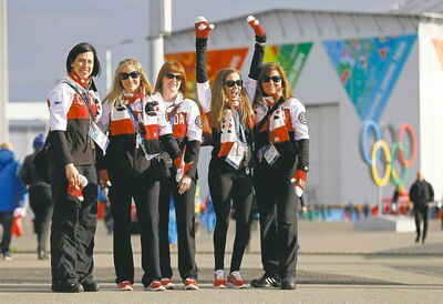 Canadian curlers (from left) Jill Officer, Jennifer Jones, Dawn Askin, Kaitlyn Lawes and Kirsten Wall take a tour of Olympic Park in Sochi, Russia, Thursday.