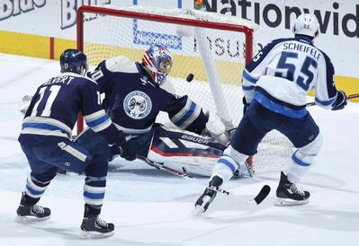 Jets centre Mark Scheifele opens the scoring in Columbus with his fourth of the year, firing a shot past Blue Jackets goalie Mike McKenna.