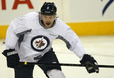Winnipeg Jets' Ron Hainsey during practice Monday morning at the MTS Centre in Winnipeg. The team is gearing up for their last six games in the regular season with a home game this Tuesday against the Tampa Bay Lightning.