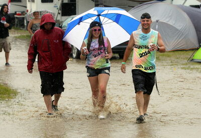 Rain soaked festivalgoers on Friday and Saturday.