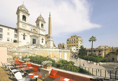 The terrace of Il Palazzetto Restaurant and Wine Bar offers a fabulous view of Rome's Spanish Steps.