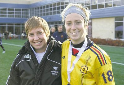 submitted photoSoccer players Katrina Krcadinac (left) and Jackie Tessier did Manitoba proud.