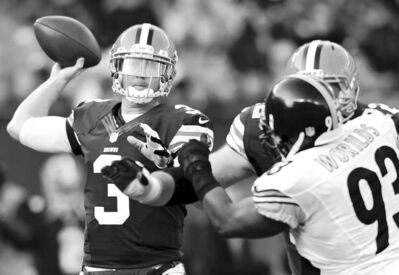 ron schwane / the associated pressCleveland Browns quarterback Brandon Weeden sets to pass against the Pittsburgh Steelers on Sunday. Weeden sustained a concussion in the final minutes.