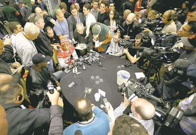 Mark Humphrey / the associated pressSan Francisco 49ers cornerback Chris Culliver, seated at top, on Thursday attempted to clarify remarks he made about gay athletes earlier in the week.