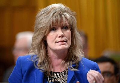Shelly Glover responds to a question during question period in the House of Commons.
