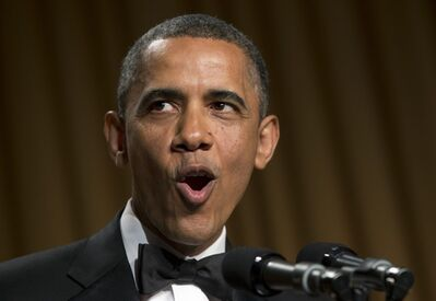President Barack Obama speaks at the White House Correspondents' Association Dinner at the Washington Hilton Hotel, Saturday, April 27, 2013, in Washington. (AP Photo/Carolyn Kaster)