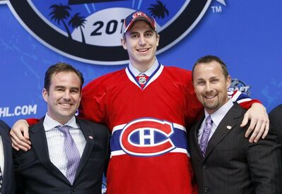 Jarred Tinordi of the United States is the 22nd overall pick by the Montreal Canadiens in the first round of the NHL hockey draft at Staples Center in Los Angeles Friday, June 25, 2010. Defenceman Tinordi signed a three-year contract with the Montreal Canadiens on Wednesday(AP Photo/Reed Saxon)