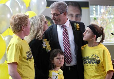 Gord Steeves, with his wife Lorri and family Hayden, Camille and Abigail, after he announced he will run for Mayor in the 2014 election.