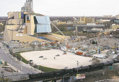Parcel Four (foreground), site of the failed water-park proposal, across from the Canadian Museum for Human Rights.