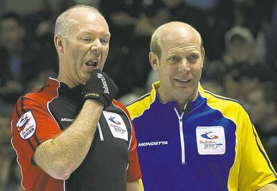 Jeff Stoughton will face Alberta's Kevin Martin (right) today and and Ontario's Glenn Howard (left) on Sunday night.