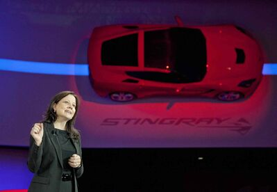 Mary Barra introduces the 2014 C7 Corvette Stingray. Barra has spent the last three years as GM's product chief.