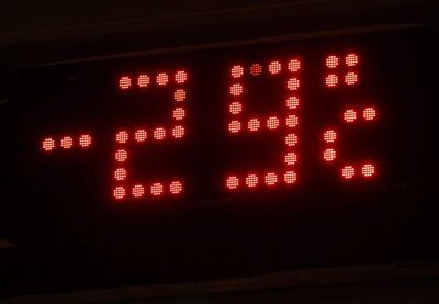A temperature sign shows how cold it is in the city.