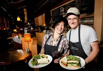 Baristas Rachel Gerson and Chris Campbell serve up smiles with the sandwiches and such at The FYXX.