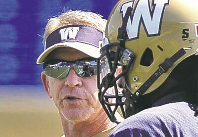 Winnipeg Blue Bomber defensive coordinator, Tim Burke, during practice at Canad Inns Stadium Monday.