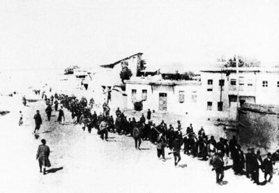 A scene from 1915 with Armenians being forced to march. The Turkish ambassador has cried foul over the designation of the events as genocide and has warned it could hurt trade.