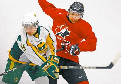 Mathew Dumba  (seen at right during one of Canada�s pre-tournament games last year) is expected to be a key contributer this time after being a late cut in each of the past two years.
