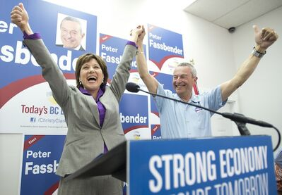 BC Liberal leader Christy Clark makes a campaign stop at candidate Peter Fassbender's campaign headquarters in Surrey, B.C. Saturday. British Columbians will go to the polls May 14th.
