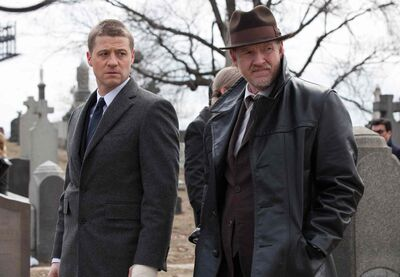 Ben McKenzie (left) and Donal Logue in a scene from Gotham, which airs Sept. 22 on Fox. Bruce Wayne is a pre-teen in the series, which will focus more on the origins of some of Batman's enemies.