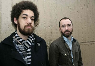 Brian Burton, left, and James Mercer pose for a portrait in New York.