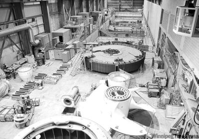 The interior of the under-construction Wuskwatim electric-generating station.