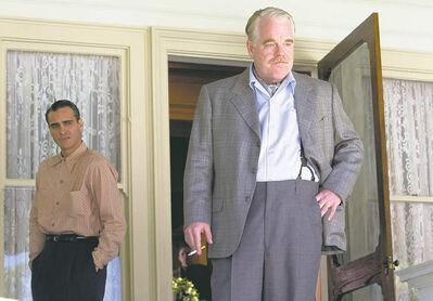 Joaquin Phoenix, left, and Philip Seymour Hoffman in a scene from The Master.