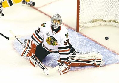 Chicago's Corey Crawford appears a tad weak on the glove side.