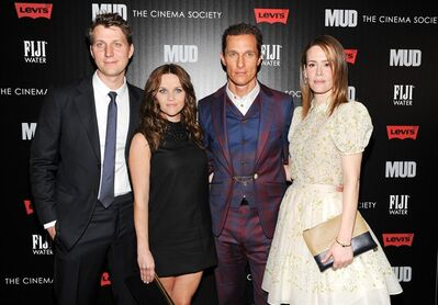 "Writer - director Jeff Nichols, left, poses with actors Reese Witherspoon, Matthew McConaughey and Sarah Paulson, right, at the premiere of ""Mud"" hosted by The Cinema Society�with FIJI Water & Levi's at the Museum of Modern Art on Sunday April 21, 2013 in New York. (Photo by Evan Agostini/InvisionAP)"