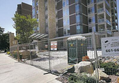 Residents in the luxury Edgewater condo complex on Wellington Crescent want  the architect, builder and developers to pay to fix the leaky underground parkade.