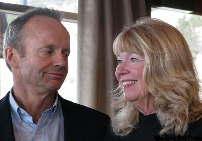 Stockwell Day looks at his wife Valorie at Quail's Gate Winery in West Kelowna, B.C., on Saturday, where he announced he will not seek re-election in the next federal election.